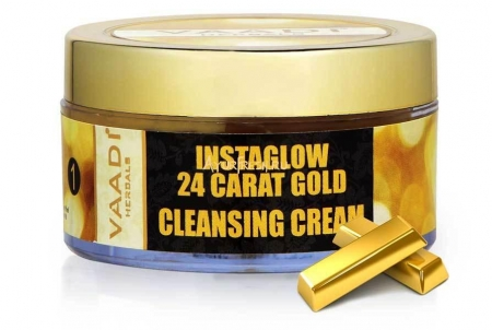 Очищающий крем Золото 24 карата 50 г, Vaadi 24 Carat Gold Cleansing Cream - Marigold Oil & Wheatgerm Oil
