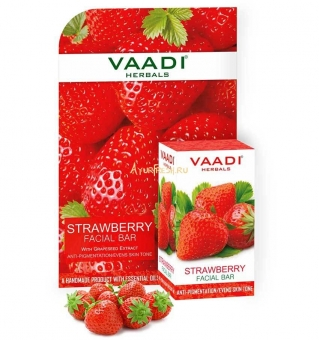 Мыло для лица Клубника 25 г, Vaadi Strawberry Facial Bar with Grapeseed Extract