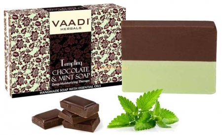 Мыло Шоколад и Мята 75 г, Vaadi Tempting Chocolate & Mint Soap - Deep Moisturising Therapy
