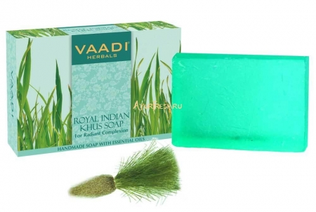 Мыло Ветивер 75 г, Vaadi Royal Indian Khus Soap With Olive & Soyabean Oil
