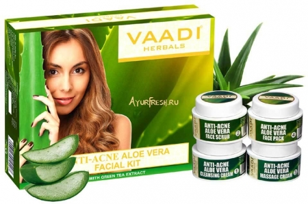Набор Алое вера 70 г, Vaadi Anti-Acne Aloe Vera Facial Kit with Green Tea Extract