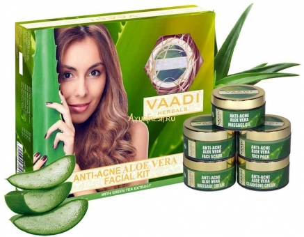 Набор Алое вера 270 г, Vaadi Anti-Acne Aloe Vera Facial Kit with Green Tea Extract