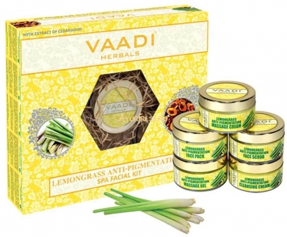 Набор Лемонграсс 270 г, Vaadi Lemongrass Anti-Pigmentation SPA Facial Kit With Cedarwood Extract