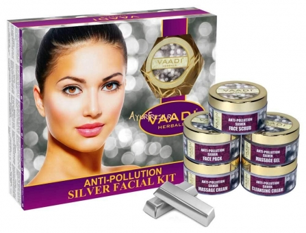 Набор Серебро 270 г, Vaadi Silver Facial Kit - Pure Silver Dust, Rosemary & lavender Oil, Sandalwood Paste